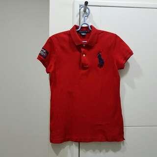 正品RALPH LAUREN限量版網球公開賽正紅短袖POLO衫女M