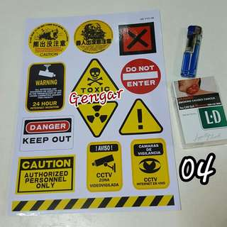 Cctv Toxic Caution Waterproof Stickers Suitable For Luggage Ps4 Nds 3ds Xbox One Console Game Player Escooter Plastic Container Files School No.04 Dualtron Evo Monster