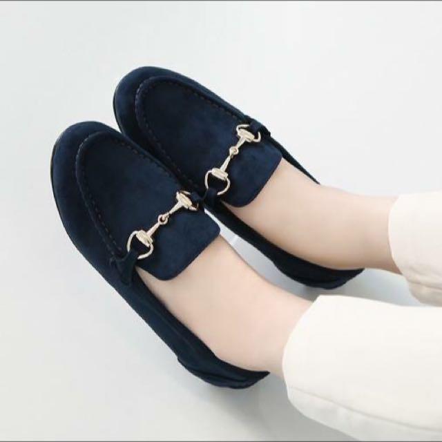 黑色麂皮樂福鞋(23號)