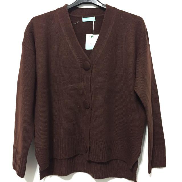 咖啡色針織短版外套