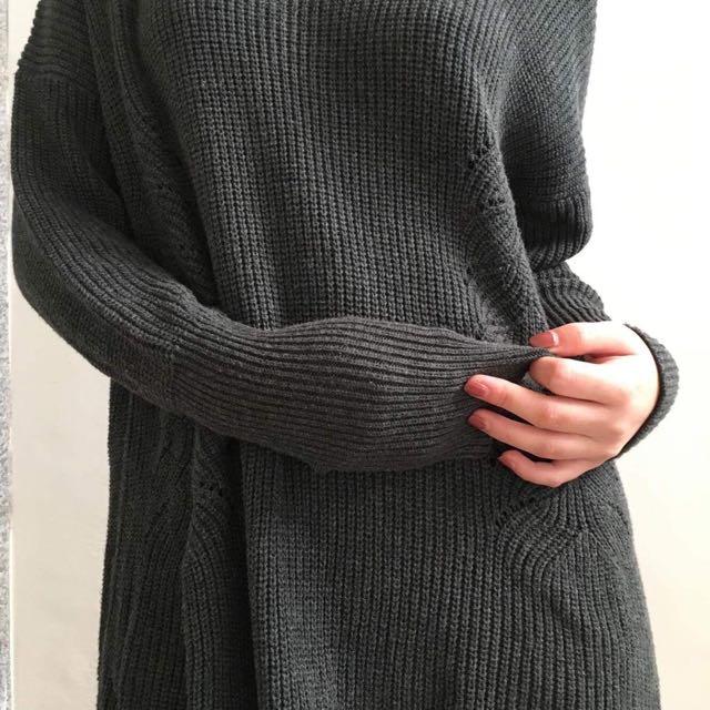 長版 深灰 針織毛衣