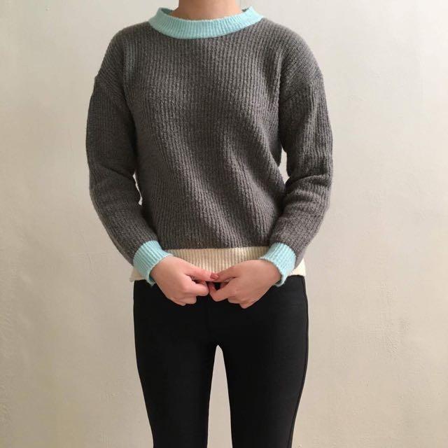 藍色 米色 灰色 針織 拼色 毛衣