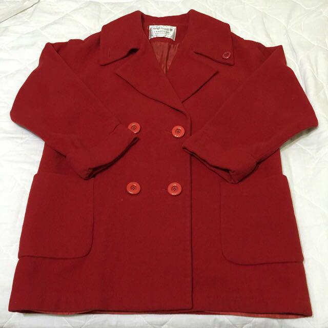 台灣懷舊➰古著 正紅中長版大衣 長版外套 老件 復古全羊毛 毛呢絨 vintage