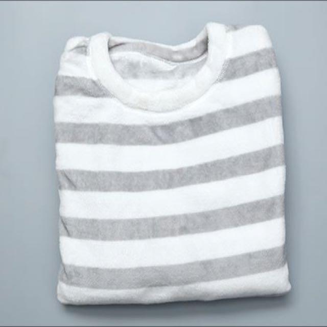 法蘭絨居家睡衣- 灰色寬條紋 XL