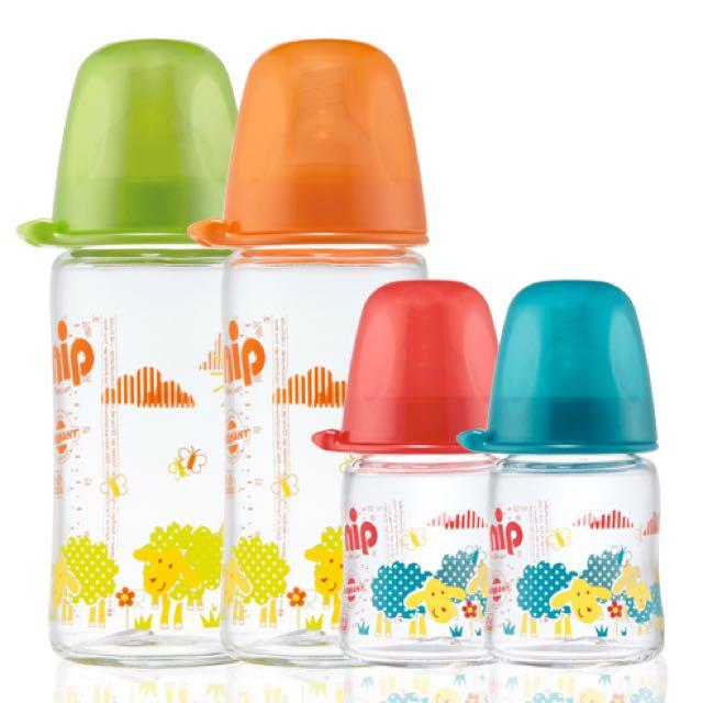 德國製  nip德國矽膠寬口徑防脹氣玻璃奶瓶-240ml(中圓洞奶嘴