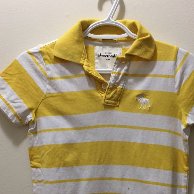 Abercrombie & Fitch A&F Yellow and White stripe Polo Shirt
