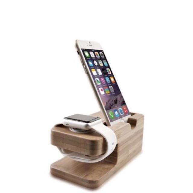 Apple Watch & iPhone Stand, Portable Bamboo Wood NEW