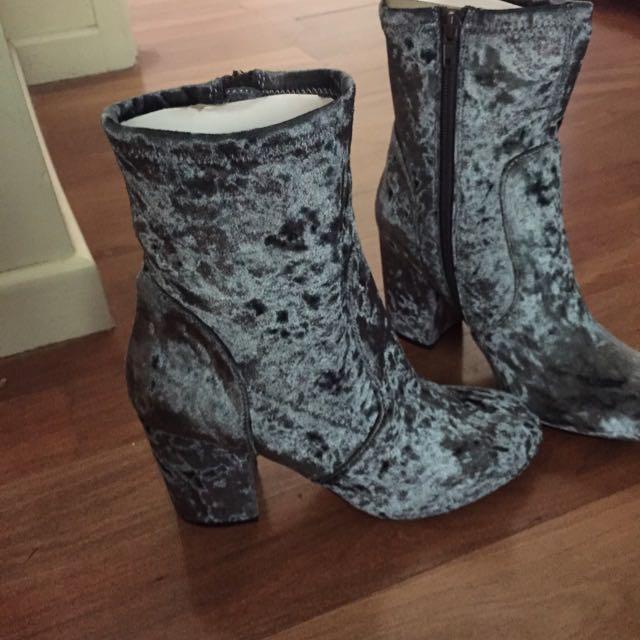 ASOS Blue Velvet Sock Ankle Boots