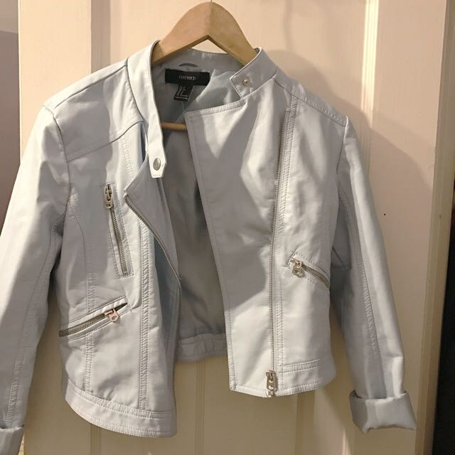 Baby Blue F21 Faux Leather Jacket