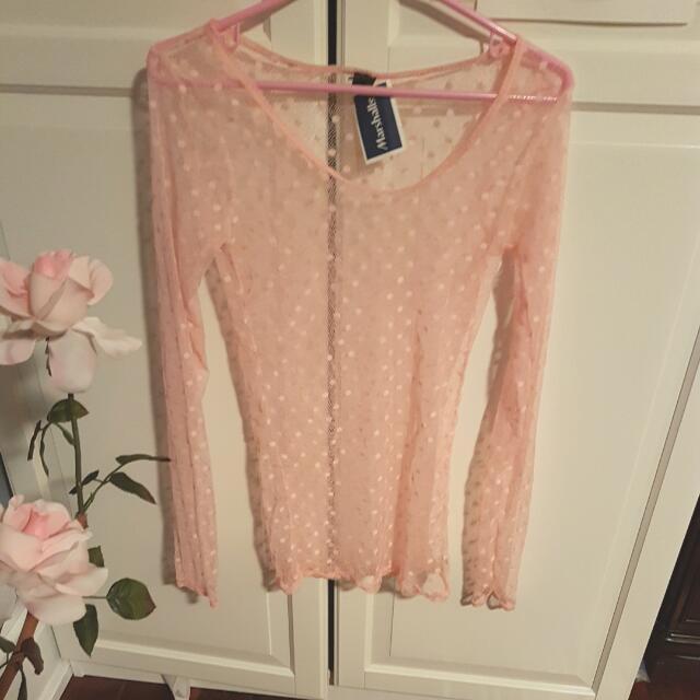 Baby Pink polka dot mesh shirt