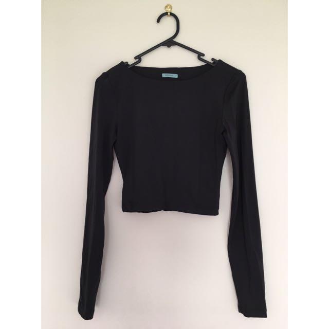 Black Kookai Long Sleeve Crop