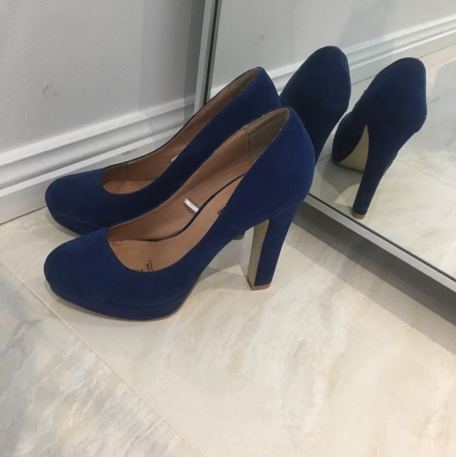 Blue Chunky Heels