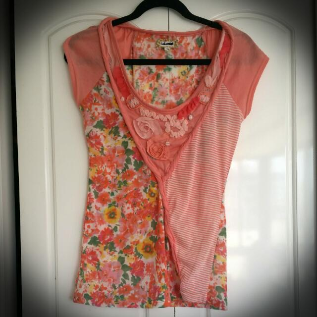 Coral Floral Shirt By Lulumari