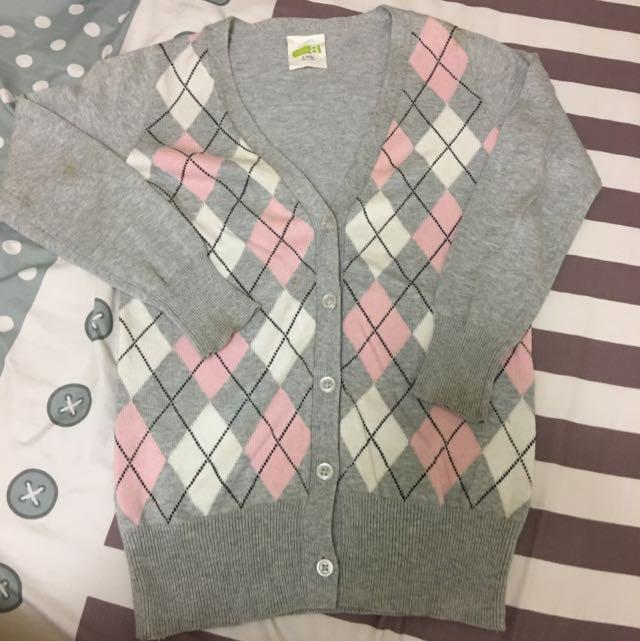 Crazy 8 正品 小女生 灰色 菱格紋 針織 V領 小外套