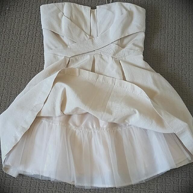 Cream Portmans Strapless Dress Size 14