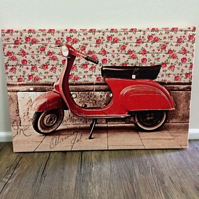 Floral Vespa Canvas