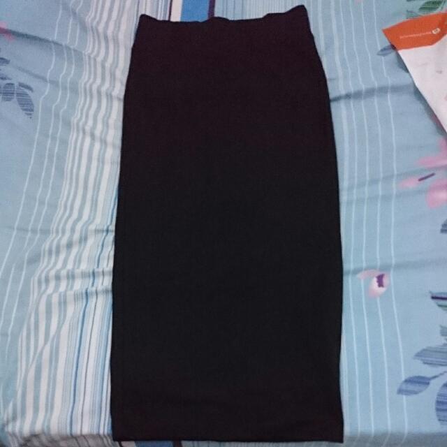 Diskon Stradivarius Stretched Black Skirt/Rok