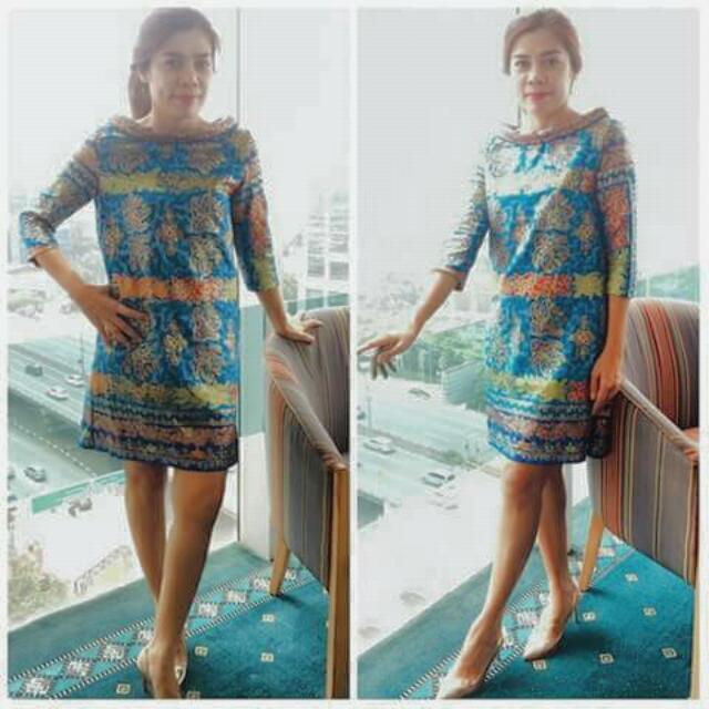 Dress Corak Batik Bali, Pakai Furing, Bahannya Adem, All Size.