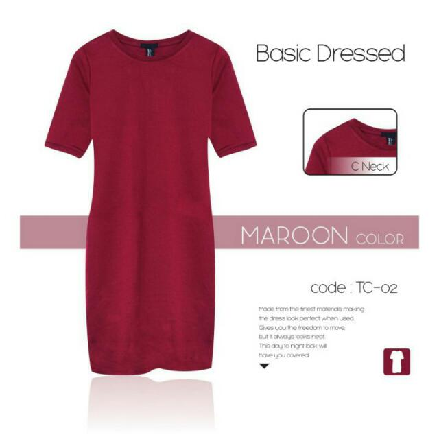 Forever 21 Basic Dress Maroon (Limited Stock)