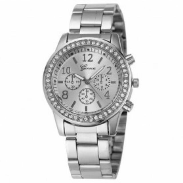 Geneva Simple Fashion Quartz Analog Stainless Steel Strap Watch - YQ004 - Silver