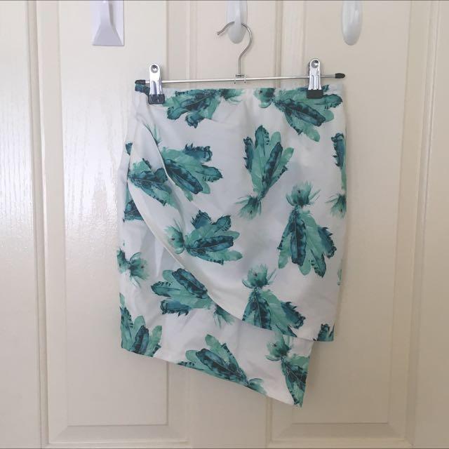 Green And White Mini Skirt