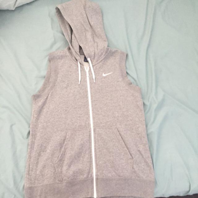 Grey Nike Brand Vest With Hood