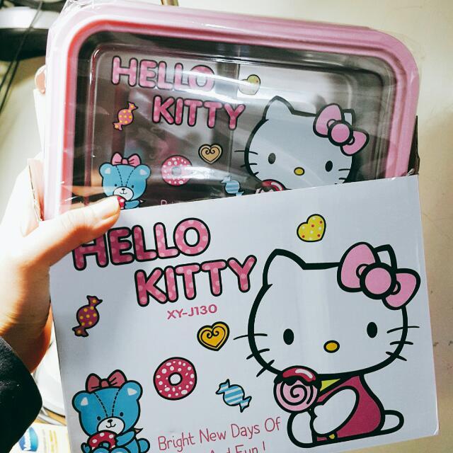 Hello Kitty 哈囉凱蒂 不鏽鋼 便當盒 無痕飲食