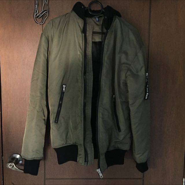 "H&M Olive Bomber Jacket ""Never Play It Safe"""
