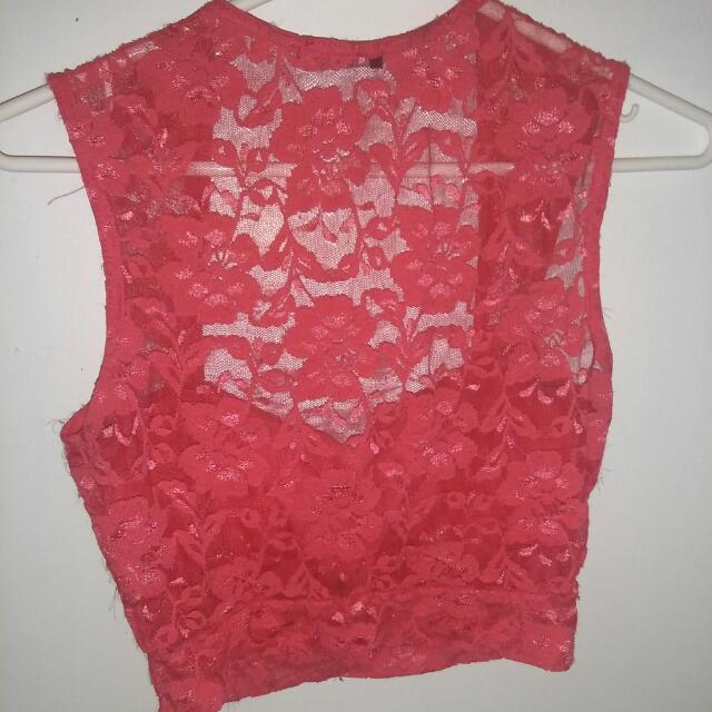 Lace Pink Crop Top With Breast Pads