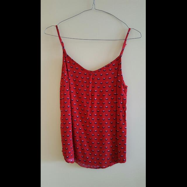 Ladies Top - Red Strappy Tank - Size XS
