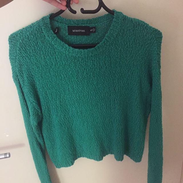 Minkpink Cropped Green jumper Size S