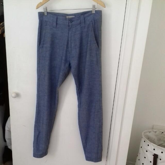 MR SIMPLE Mens Denim Look Pants Chino Size 30