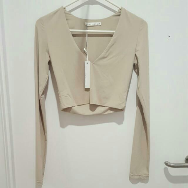 Myra Collection Beige Nude Long Sleeve Crop Top