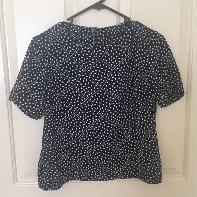 Navy Blue And White Pattern Top/T-Shirt