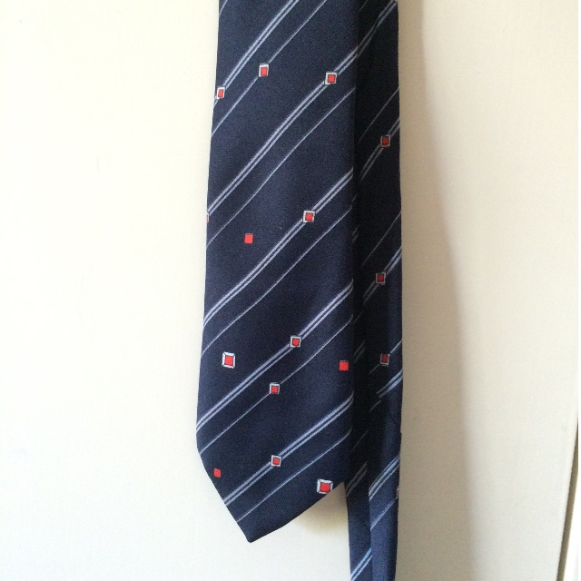 Navy blue stripe tie with read squares