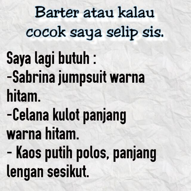 Open Barter/Selip Sis.