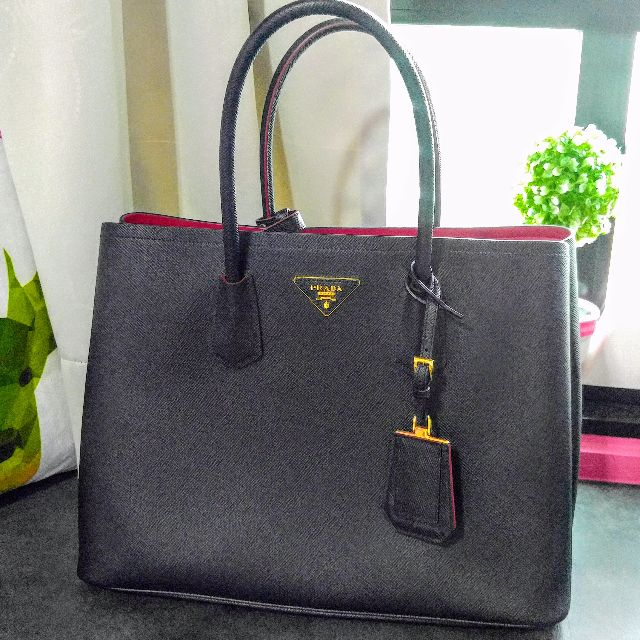 8c90a9c491a936 Authentic Prada Saffiano Cuir Double Bag (Black/Red), Luxury, Bags ...