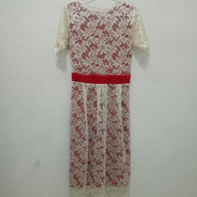 Red Broken White Dress