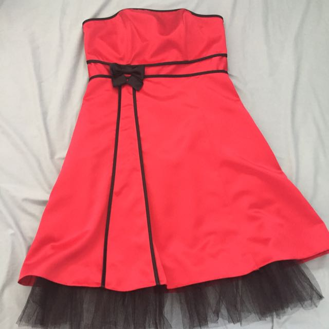 Red Strapless Formal Dress