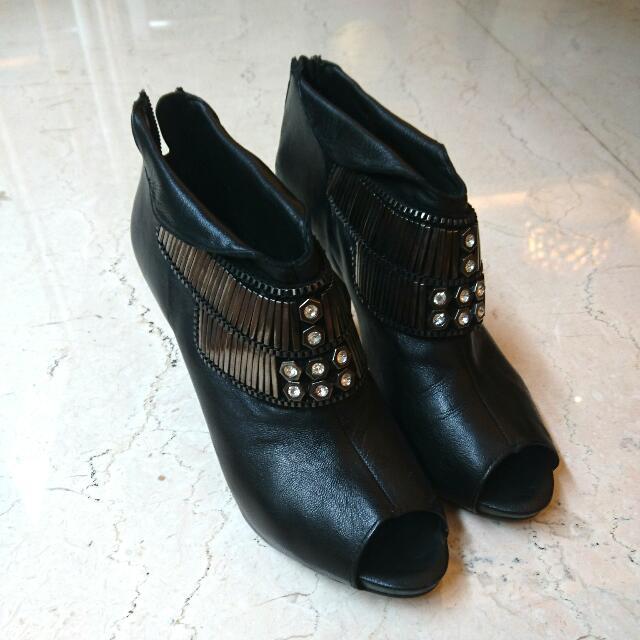 Rotelli Peeptoe Leather Heel-Boots