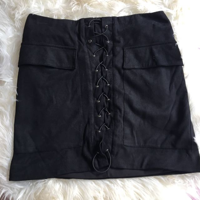 Runaway The Label Black Suede Mini Skirt
