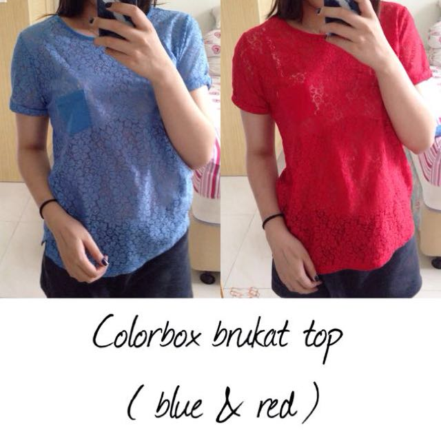 Sisah Biru !! Colorbox Brukat Top
