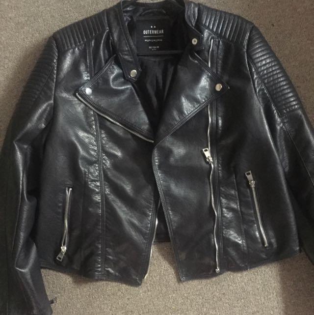 Size 14 Black Leather Jacket