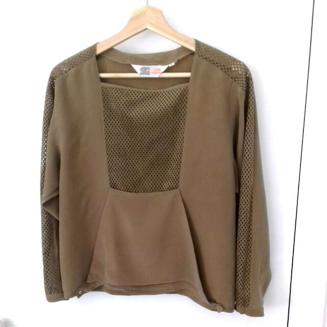 ST GERMAIN Coffee Blouse Size S