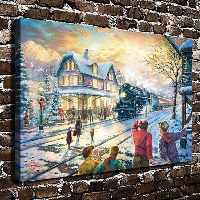 Thomas Kinkade All Aboard for Christmas Canvas Wall Art Print, Home ...