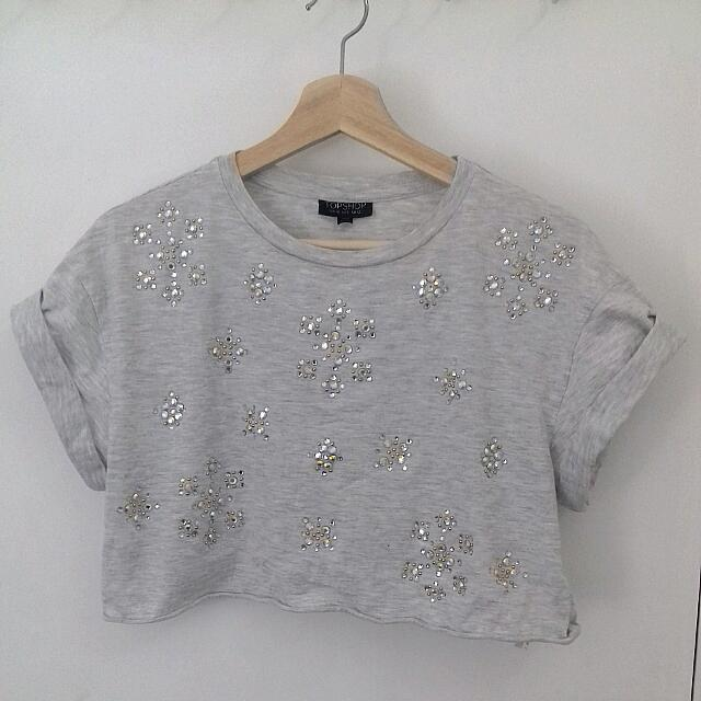 TOPSHOP Grey Bejewelled Crop Size 8