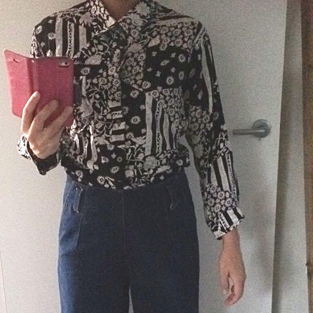 Vintage Style Button Down Shirt Sz 6-8