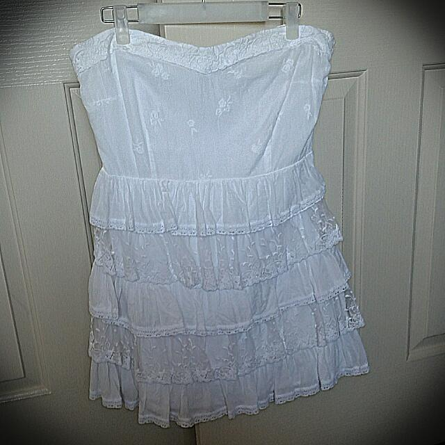 White Strapless Dress Size 14