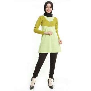 Baju Muslim Front Button Tunic Light Green By MyBamus