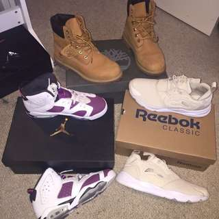 Women's Tims Size 7, Jordan 6's Kids Shoe 5y & reeboks fairy Light Size 8 Women's
